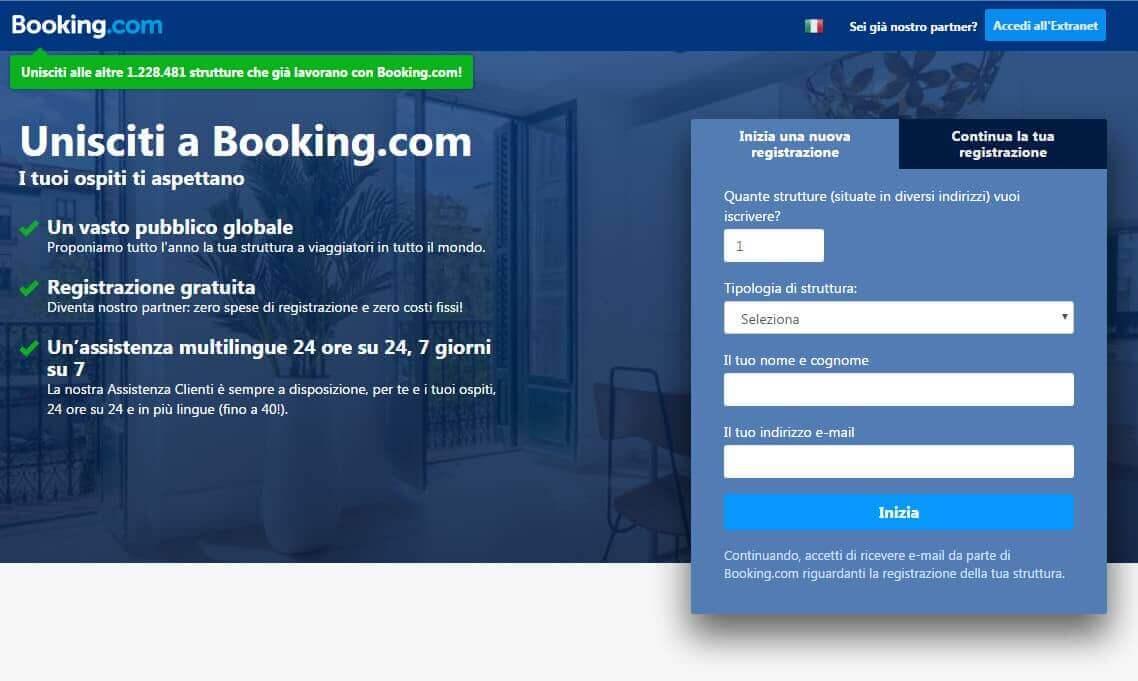 iscriviti a booking